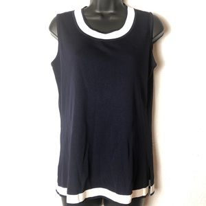 Exclusively MISOOK navy white tank blouse shirt S